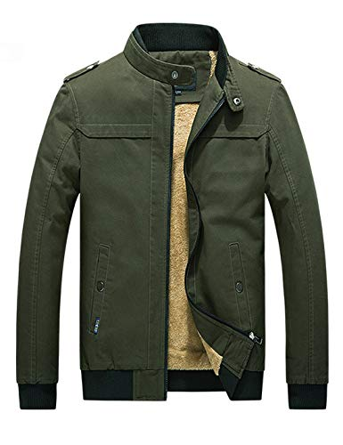 D.B.M Men's Winter Plus Velvet Thickening Collar Cotton Windbreaker Jacket (Large, Army-Green)