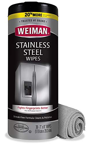 Weiman Stainless Steel Wipes (Large Microfiber Cloth) Removes Fingerprints Residue Water Marks and Grease from Appliances - Works Great on Refrigerators Dishwashers Ovens Grills - Packaging May Vary