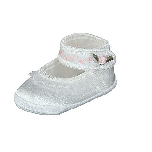 pantau.eu Taufschuhe Babyschuhe Lauflernschuhe Kinderschuhe Babyschühchen Krabbelschuhe, festliche Baby Schuhe, Satin, Spitzenstoff weiß 10