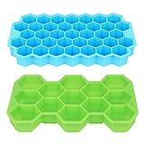 DERCLIVE 2 moldes de silicona para cubitos de hielo con tapa, apilables,...