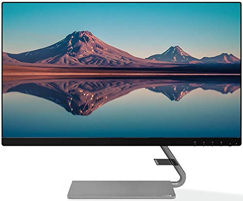 Lenovo 23.8-inch FHD Ultra Slim Near Edgeless Monitor with 75Hz, 4ms, HDMI, VGA, AMD FreeSync, Built in Speaker, with Metal Stand, TUV Certified Eye Comfort - Q24i-10