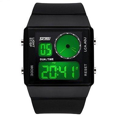 Lemumu 8.41 FashionRectangle Dual Time Display digital LED jelly Electronic reloj deportivo para hombres/mujeres/unisex,impermeable negro