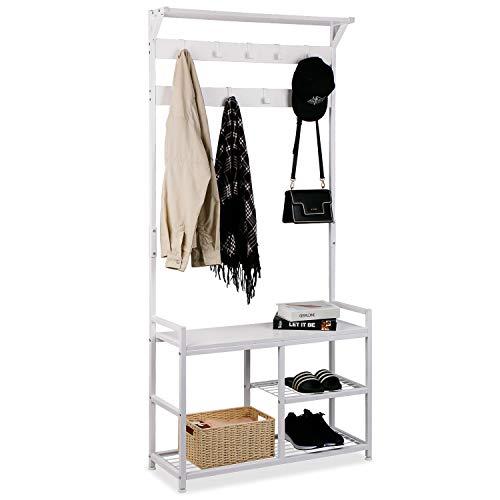 Leader Accessories Garderobenständer mit Bank Metallgarderoben rustikal Kleiderständer 182x30x84cm (HxTxB) Weiß