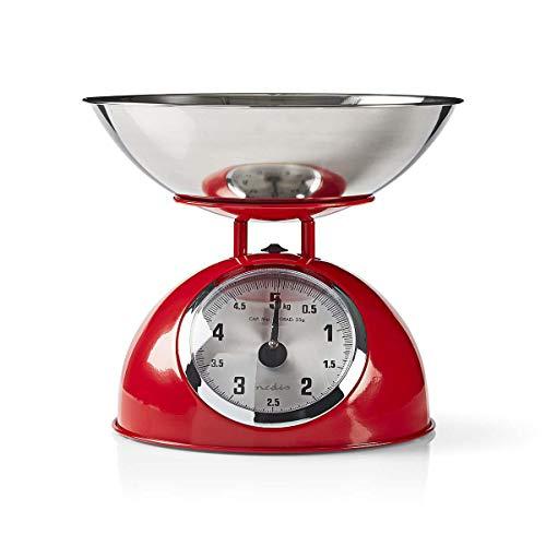 NEDIS Báscula de Cocina Báscula de Cocina | Analógico | Incluye tazón extraíble | Negro Rojo