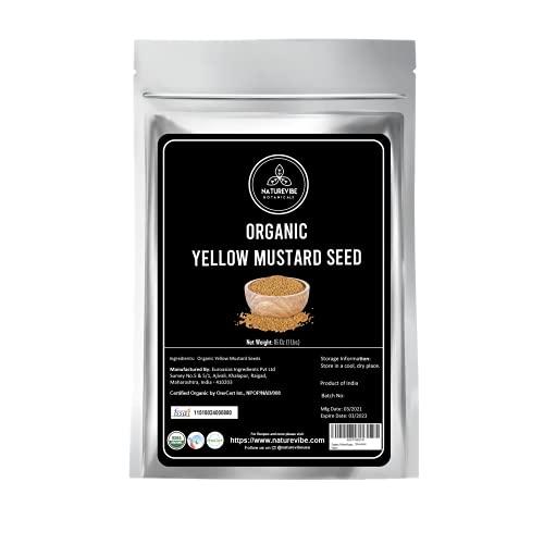 Naturevibe Botanicals Organic Yellow Mustard Seeds, 16 oz, Package May Vary