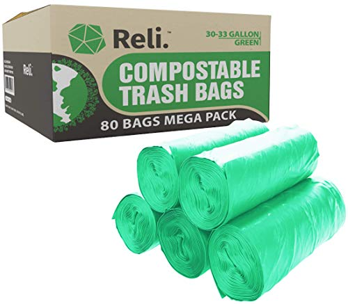 Reli. Compostable Trash Bags 33 Gallon | 80 Count Bulk | ASTM D6400 | Compost Trash & Leaf Bags 30, 32, 33 Gallon Large | Eco-Friendly Garbage Bags (33 Gal)