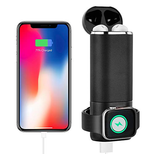 BECROWM EU - Caricabatterie Portatile Wireless per Apple Watch AirPods, Tascabile, con Batteria Esterna Integrata per iWatch, Compatibile con Apple Watch Serie 4, 3, 2, 1, Colore: Nero