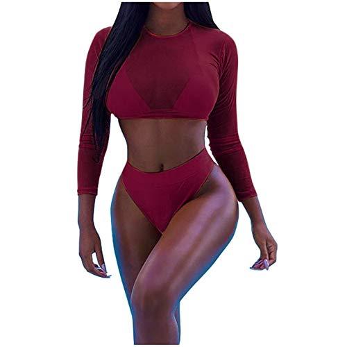 Damen Bikini Cover Up Mesh Crop Tops Sommer 3PCS KIMODO Vertuschen Oben Sonnenschutz Kleidung Strandbikini Badeanzug Bademode Beachwear Schwimmanzug Badebekleidung (A-Wein, XL)