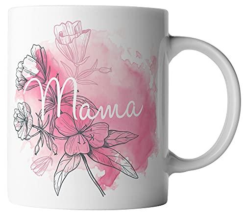vanVerden Tasse - Mama Blumen Aquarell Mutter Rosa Pink - beidseitig Bedruckt - Geschenk Idee Muttertag mit Spruch, Tassenfarbe:Weiß