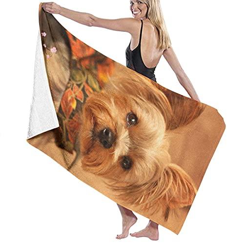 Lsjuee Toalla de Playa de Microfibra 31 'x 51' - Puppy Yorkie Toalla Grande de Secado rápido súper Absorbente sin Arena para baño / Piscina para Nadar, Ducha, Viaje, Gimnasio, Yoga, Acampar
