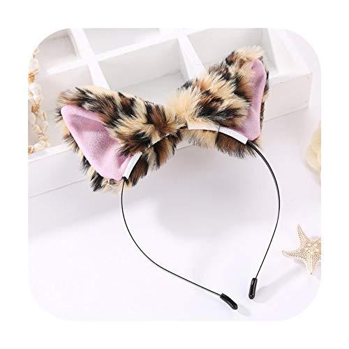 Diadema para el pelo con diseño de orejas de zorro de felpa, diadema para mujer, diadema con bisel de felpa, estampado de leopardo