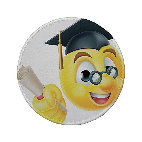Rutschfreies Gummi-Rundmaus-Pad Abschlussdekor Emoji Emoticon Smiley mit Brille und Kappe Diplom Fleißiger Student Mehrfarbig 7.9