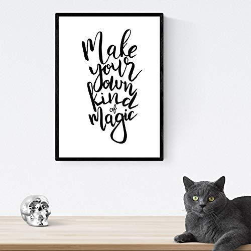 Nacnic Lámina con mensajes felices en blanco y negro.Poster 'Haz Tu Propia Magia' para enmarcar. Tamaño A4 con marco