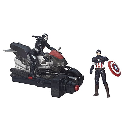 Marvel - Avengers Age of Ultron, Action Figures di Capitan America e War Machine con Moto