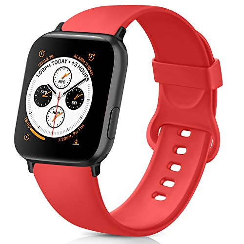 AK kompatibel mit Apple Watch Armband 42mm 38mm 44mm 40mm, Weiche Silikon Sport Ersatz Armband kompatibel iWatch Series 5, Series 4, Series 3, Series 2, Series 1 S/M M/L (Orangerot, 42/44mm M/L)