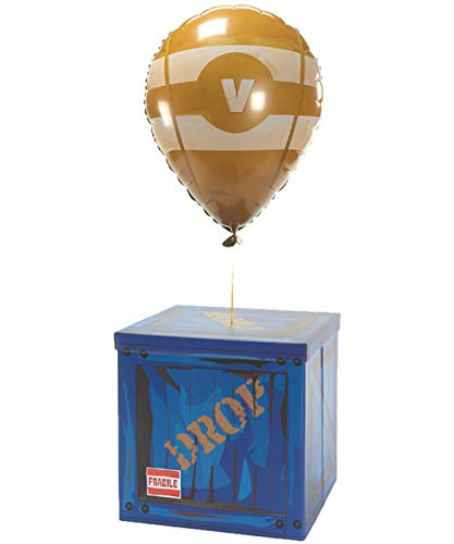 CampLiner Large Loot Drop Box W/One Matching Yellow Balloon – Gamer Birthday Party Supplies – Goes with Merch, Pickaxes…