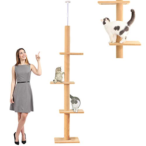 "108"" Tall Cat Tree House Activity Towers Scratching Post Condos Climbing Tiger Tough Kitten Furniture with Sisal Rope Pet Perches Play Adjustable Height Platform (grey2)"