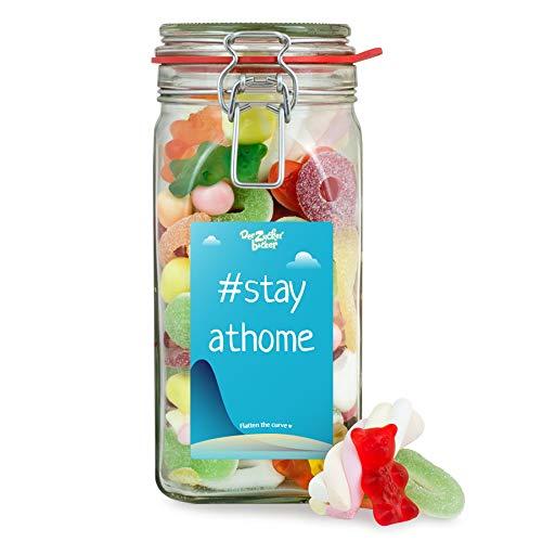 Großes Stay At Home - Süßigkeitenglas, toller Süßigkeiten-Mix im Bügelglas zum Zuhause bleiben und Verschenken