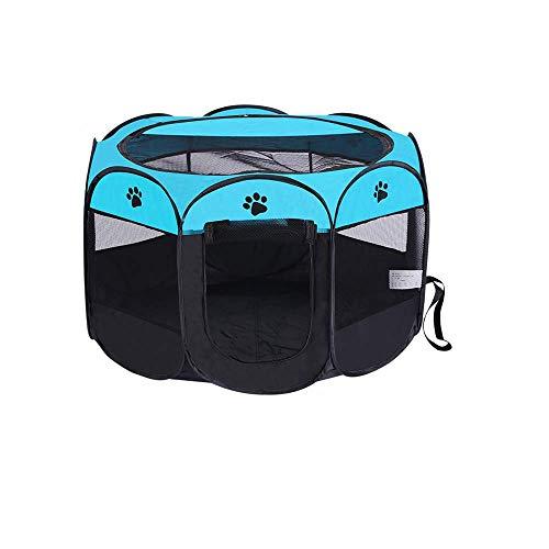 Wiiguda@ Recinzione per Cani Tenda Pop-UP Recinto per Cani Cagnolini Animali Impermeabile Pieghevole da Usare all'Interno e all'Esterno con Sacchetto di Stoccaggio Blu M 73X73X43 cm