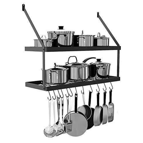 KES 30-Inch Pot Rack 2 Tier Pan Rack for Kitchen Wall Mounted Pot Organizer with 12 S-Hooks Heavy-Duty Matte Black, KUR218S75B-BK