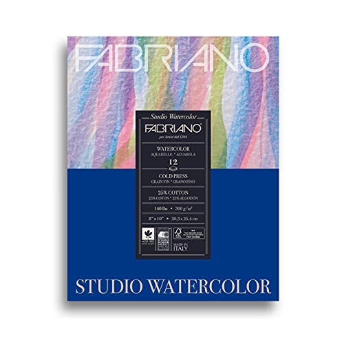 Fabriano 91230020 Tape Binding Acid-Free Cold Press Studio Watercolor Pad, 12 Sheets, 140 Pound, 8'x10'