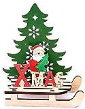 AOLIAY 2PCS Natale in legno montaggio fai da te Babbo Natale slitta decorazione auto puzzle blocco costruzione giocattolo