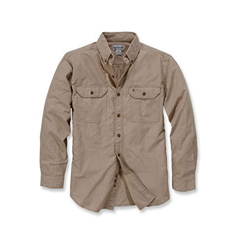 Carhartt S202 L/S Fort Solid Shirt - Arbeitshemd - Freizeithemd (L, Graubraun)