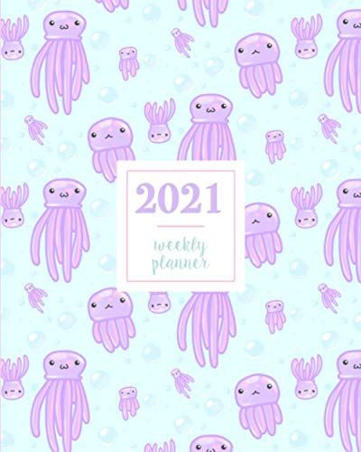2021 Weekly Planner: Cute Ocean Purple Adorable Jellyfish Kawaii Blue Aquatic Pattern Illustration Cover, Weekly and Monthly Standard Professional Calendar | 1 January 2021 - 31 December 2021