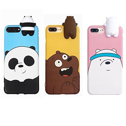 """Aikeduo - Cover in silicone per iPhone 7/8, motivo: animali del fumetto 3D, con scritta """"We Bare Bears Bears"""" in 3 pezzi"""