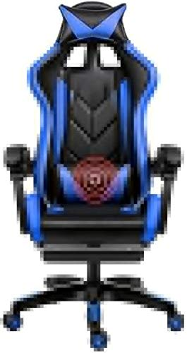 DBL Swivel Chair Gaming Chair, Ergonomics Liftable with Footrest Office Chair Massage Lumbar Support Racing Chair for Student Dormitory Office Desk Chairs (Color : Blue)