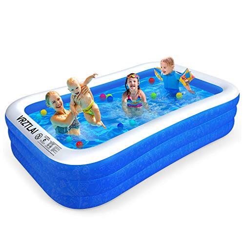 VRZTLAI Family Inflatable Swimming Pool, Inflatable Lounge Pool for Kiddie, Kids, Adults, Infant, Toddlers, Easy Set Swimming Pool for Garden, Backyard, Outdoor Summer Water Party (120