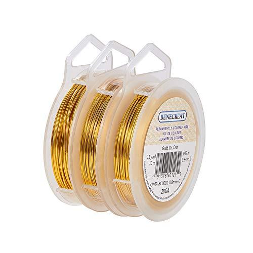 BENECREAT 3 Rollen 18 Gauge/20 Gauge/22 Gauge (1mm/0.8mm/0.6mm) Anlaufbeständiger Goldspulendraht zur Herstellung von Kupferdraht, 10m/10m/20m