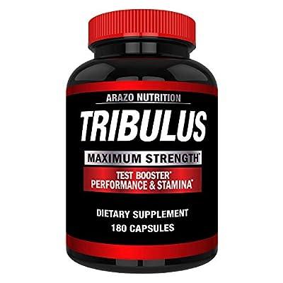 Tribulus Terrestris Extract Powder - Testosterone Booster with Estrogen Blocker - Arazo Nutrition USA - 180 Capsules