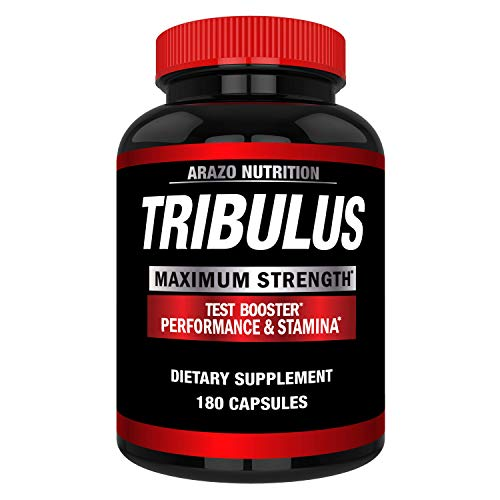 Tribulus Terrestris 1500mg Extract Powder - Testosterone Booster with Estrogen Blocker - Arazo Nutrition - 180 Capsules