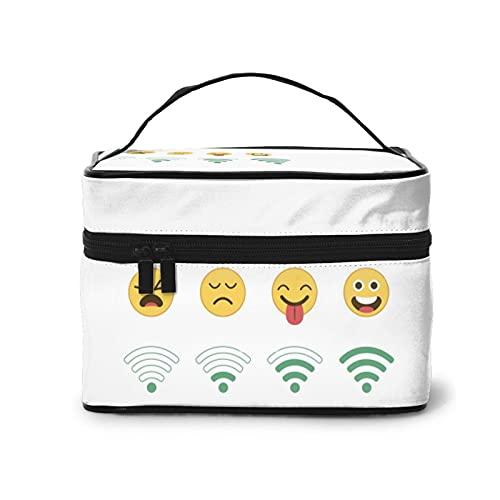 Emoticons And Wifi Bolsa de cosméticos, bolsa de maquillaje, bolsa de viaje portátil para mujeres, organizador de maquillaje con cremallera