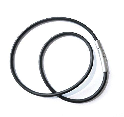 ESM24 Kautschukhalsband 3mm, Halskette, Kautschukband mit rostfreiem Hebel-Druckverschluß aus Edelstahl in Matter Ausführung, KHB 100M, in versch.Längen von ca. 35cm bis 85cm lieferbar (35)