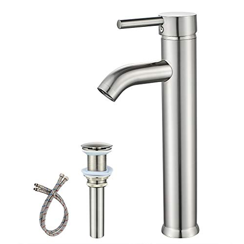 Single Handle Bathroom Faucet Brushed Nickel Tall Vessel Sink Faucet, with Pop-up Sink Drain Assembly & Faucet Supply Lines Lavatory Faucet