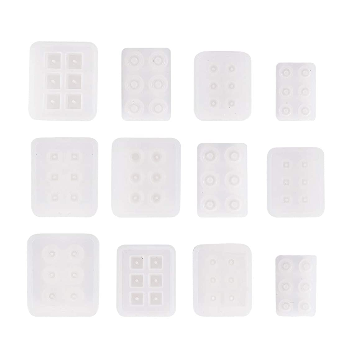 PH PandaHall 12 Pack Silicone Resin Molds with Hole for Resin, Clay, Gemstone Cabochon Beads Pendant Charms Jewelry Casting(Cube, Round, Square, Abacus, Oval, Rhombus) etfdpdx18