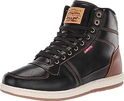 top 10 levi shoes black Levi's Men's Stanton Banished BT Fashion High Top Sneaker Shoes, Black / Brown, 11M.