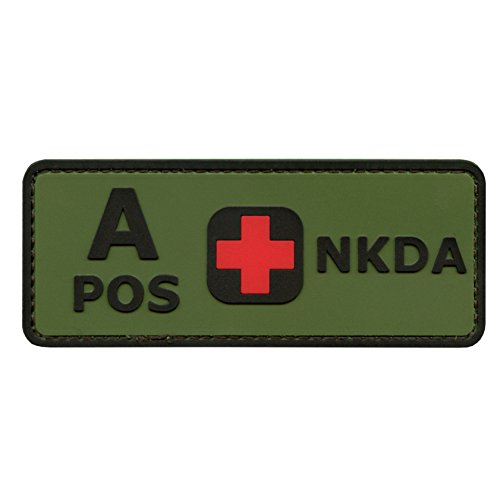 2AFTER1 Olive Drab Green OD A POS Blood Type NKDA Combat Tactical PVC Rubber 3D Touch Fastener Patch