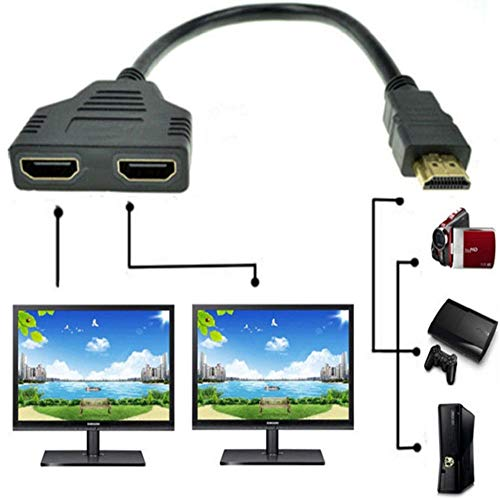 ZY HDMI Male to Dual HDMI Female 1 to 2 Way HDMI Splitter Adapter Cable for HDTV,Support Two TVs at The Same Time, Signal One in, Two Out(Black)