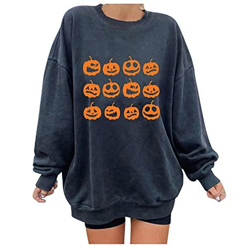 Women Halloween Pullover Skull Pumpkin Print Sweatshirt Casual Long Sleeve Tops Blouse