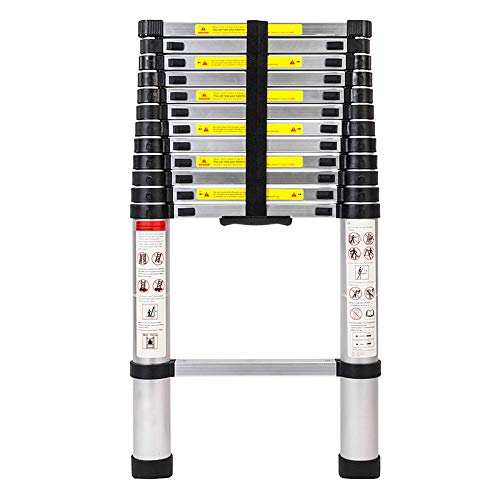 Ladders for Home,12.5 FT Aluminum Telescoping Ladder One-Button Retraction Extension Ladder,Collapsible Ladder for Roof Outdoor Work Indoor and Outdoor