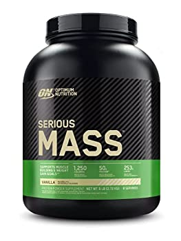 Optimum Nutrition Serious Mass Weight Gainer Protein Powder Vitamin C Zinc and Vitamin D for Immune Support Vanilla 6 Pound  Packaging May Vary