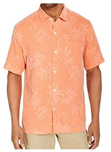 Tommy Bahama Digital Palms Silk Camp Shirt (Color: Melon Sorbet, Size XXL)