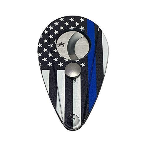 Xikar Xi2 Cigar Cutter Hero Series, Cuts Up to 60 Ring-Gauge Cigars, Spring-Loaded Double Guillotine Action, 440 Stainless Steel Blades with Rockwell C Rating of 57, Police