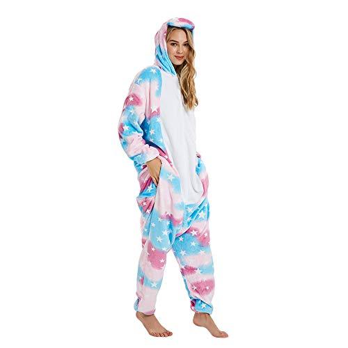 Bonitos monos de unicornio con forro polar para pijama, sin insomnio, para Halloween, Navidad, Carnaval, fiestas, cosplay, disfraces para niños y adultos Cremallera arcoíris. S