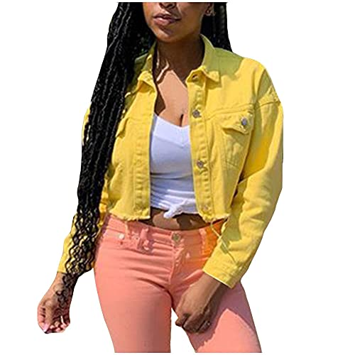 SHENSHI Denim Jacket Mujer,Chaqueta De Jeans Abrigos Chaqueta De Mezclilla Corta Y Delgada Informal De Color Caramelo, Amarillo, XX, Grande