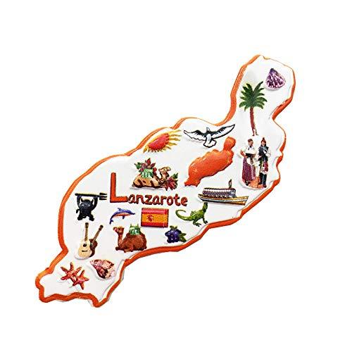 Imán de nevera 3D de Lanzarote con mapa de España, regalo de recuerdo, hecho a mano, decoración para el hogar y la cocina, colección de imanes de nevera Lanzarote
