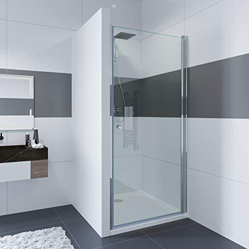 IMPTS 90cm Duschabtrennung Duschkabine Verstellbereich von 89-91 cm Höhe: 185cm Duschtür Nischentür Duschwand Nischendrehtür